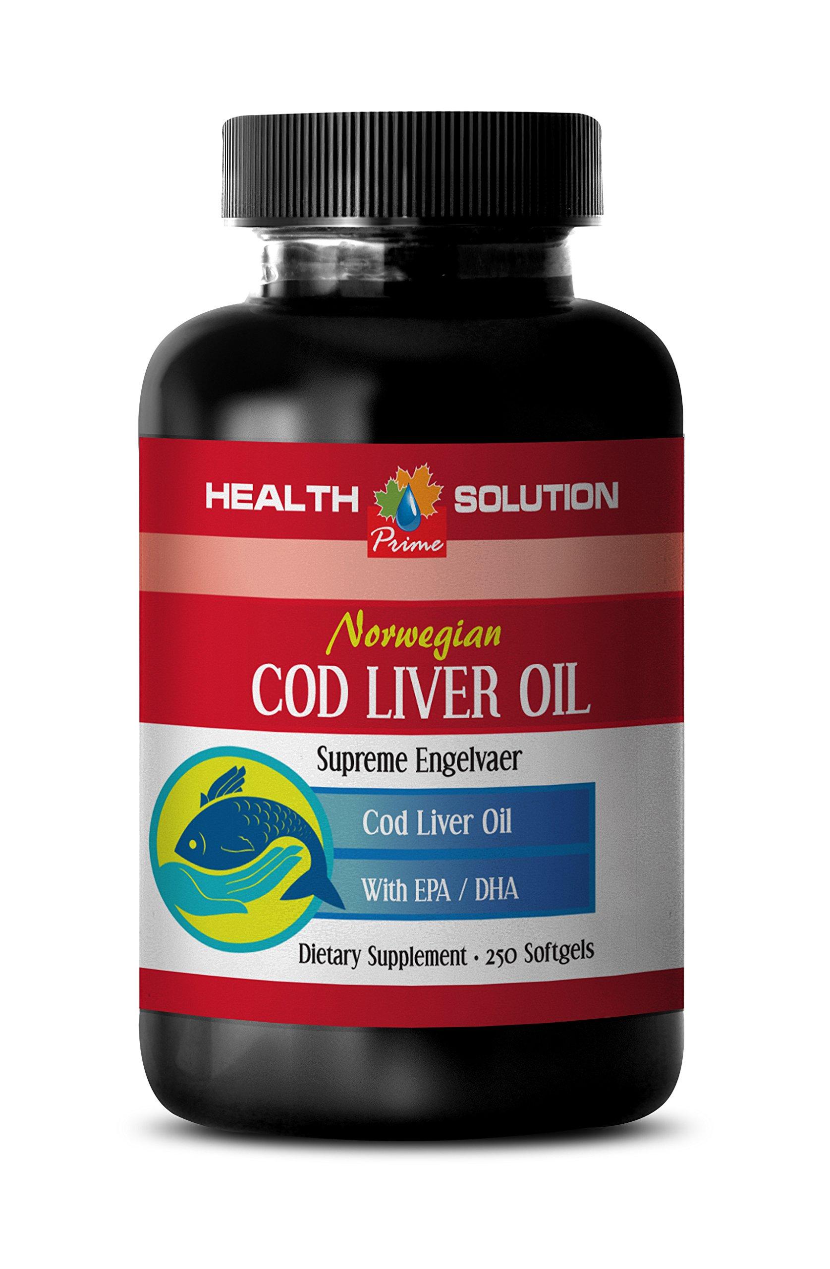 Brain booster - NORWEGIAN COD LIVER OIL with Vitamins A & D3/EPA & DHA - Norwegian fish oil supplement - 1 Bottle 250 Softgels
