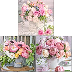 3 Sets 5D Full Round Drill Diamond Painting Kit DIY Diamond Rhinestone Painting Kits Pink Rose Flowers Cross-Stitch Set Pot On The Stool Embroidery Dot Kits for Embroidery Home Wall Decor,10 x 10 Inch