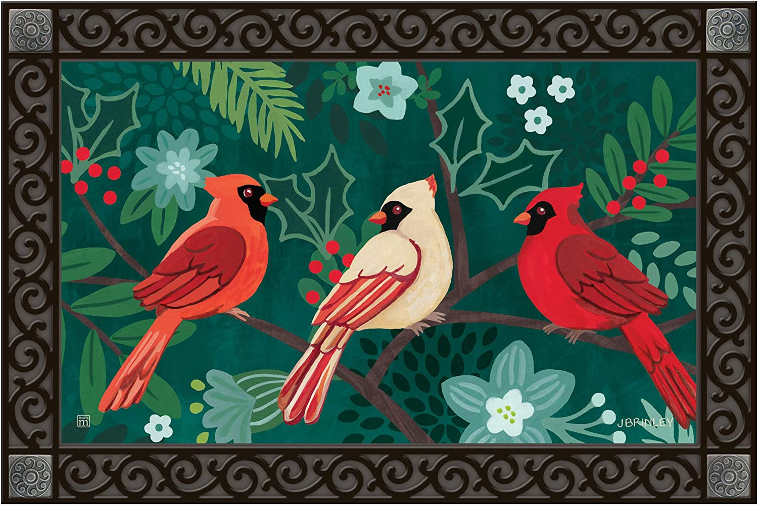 Studio M Boho Cardinals Fall/Winter MatMates Decorative Floor Mat Indoor or Outdoor Doormat with Eco-Friendly Recycled Rubber Backing, 18 x 30 Inches