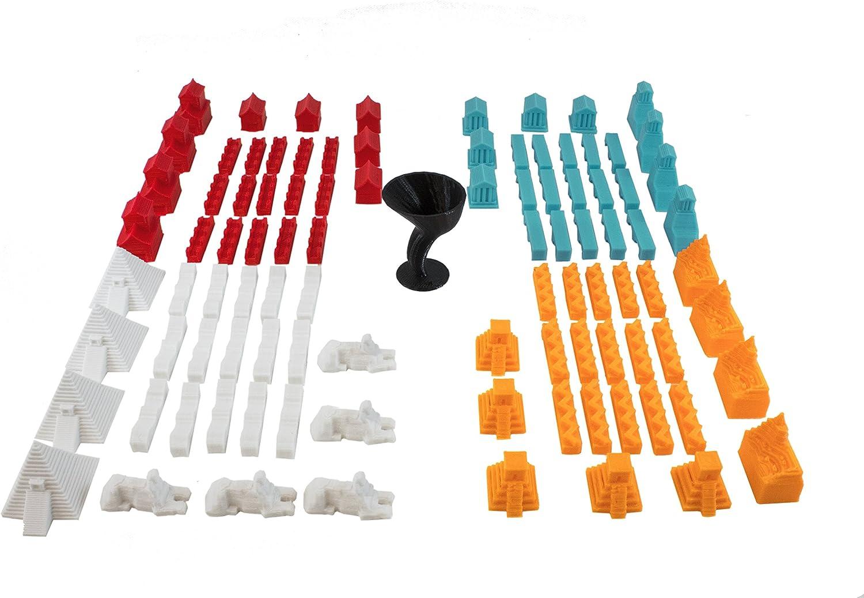 Build3D Piezas de repuesto para los colonos de Catan – 4 Empires – Imperio chino – Imperio romano – Imperio incandescente – Imperio egipcio – Piezas de repuesto para juego completo de 4 jugadores: Amazon.es: Juguetes y juegos