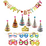 Small Birthday Party Hats With Pom Poms And Glitter Crow Set For Kids Or Adults