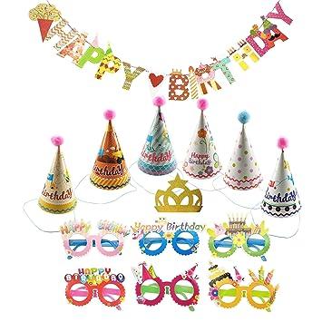 Amazon.com: Set de fiesta de cumpleaños sombreros con ...