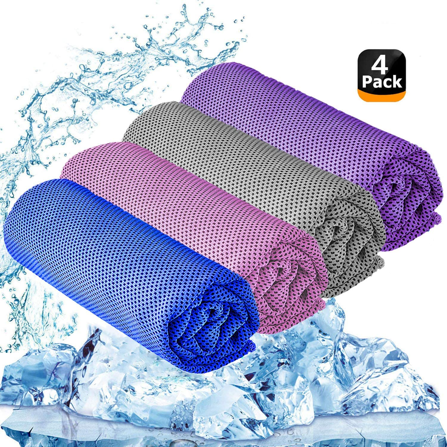 "YQXCC Cooling Towel 3 Pcs (47""x12"") Microfiber Towel for Instant Cooling Relief, Cool Cold Towel for Yoga Golf Travel Gym Sports Camping Football & Outdoor Sports (Pink/Purple/Light Gray/Dark Blue)"