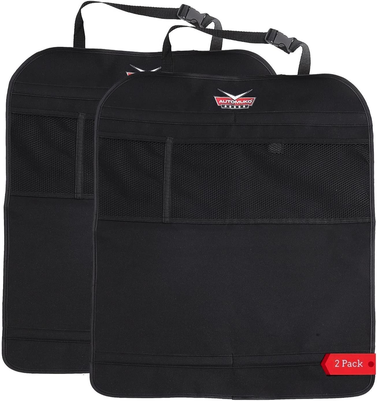 Kick Mats by AutoMuko™ With Organizer - Premium Thick Waterproof Quality Seat Back Protectors - Extra Long Size with Adjustable Straps - Car Seat Back Protectors (2 Pack) - With One-Year Limited Warranty
