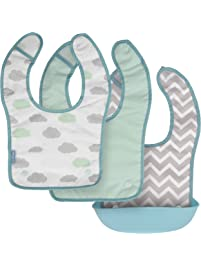 Kushies Silisnap 3 in 1 Waterproof/Terry Feeding Bib with detachable silicone pocket, Aqua