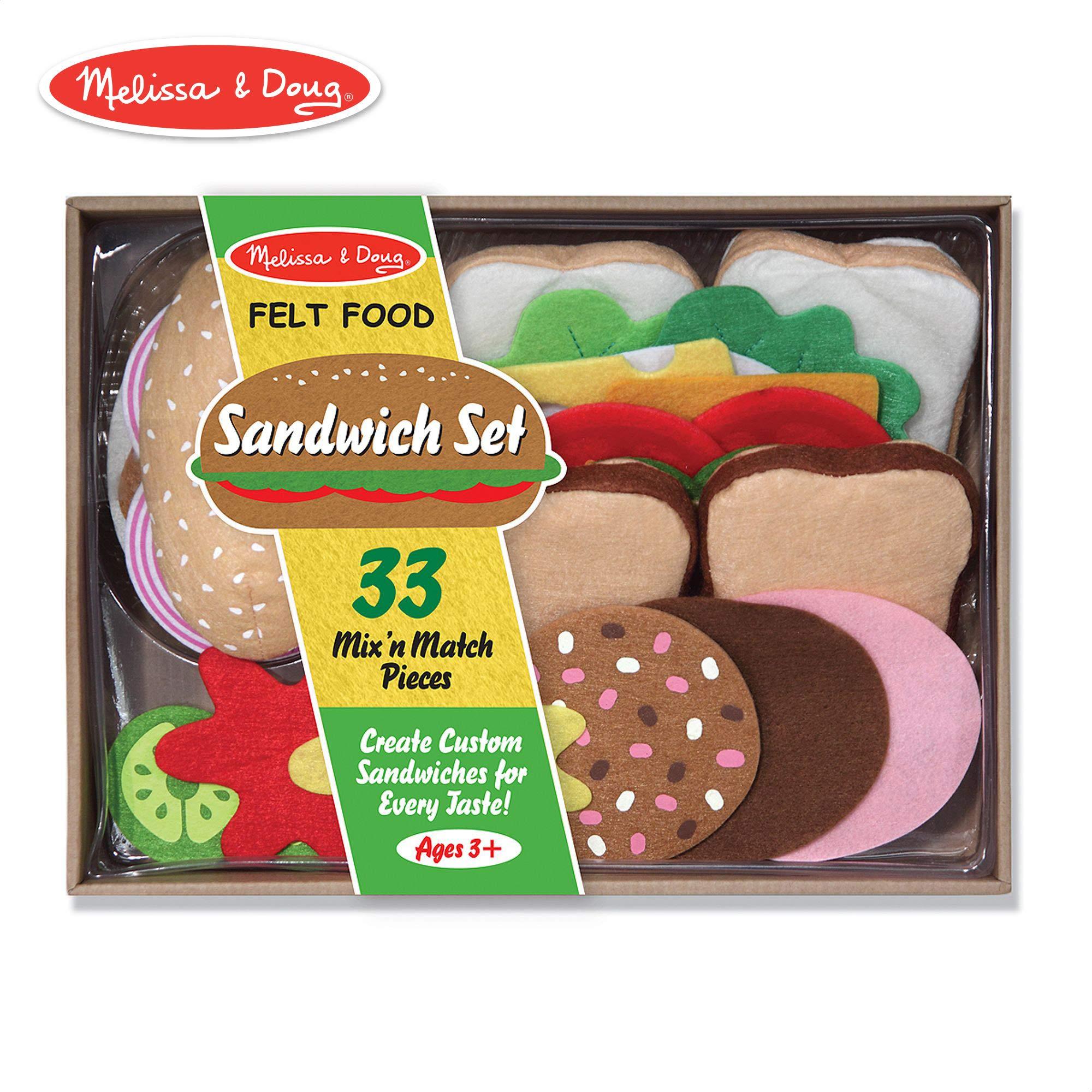 Melissa & Doug Felt Play Food Sandwich Set (Pretend Play, Easy to Clean, Includes Play Ideas, 33 Durable Pieces)