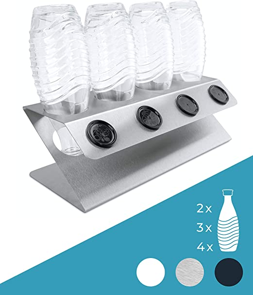 sp/ülmaschinenfest Abtropfst/änder Abtropfgestell inkl 3er Abtropfhalter f/ür SodaStream und Emil Flaschen aus Edelstahl mit Abtropfwanne Micool Sodastream Flaschenhalter Deckelhalterung