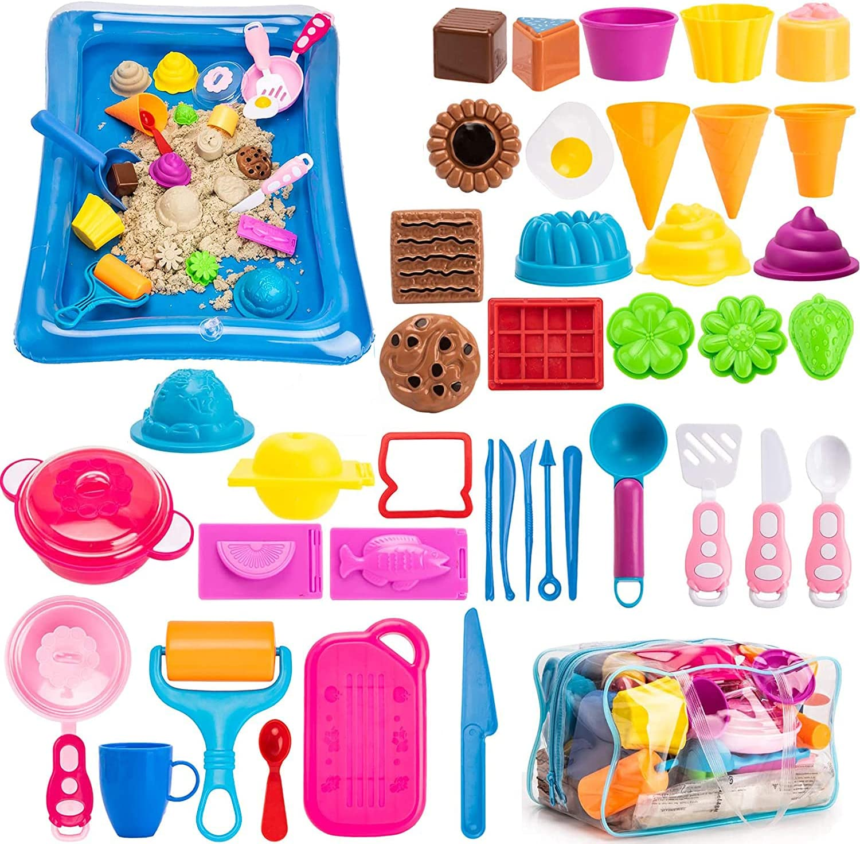 Play Sand ice Cream Set,Ice Cream kit,3lbs Magic Sand, Food Sand Molds Tools, Play Sand kit, Sand Tray and Storage Bag, 44PCS Sandbox Toys Set for Outdoor Tots