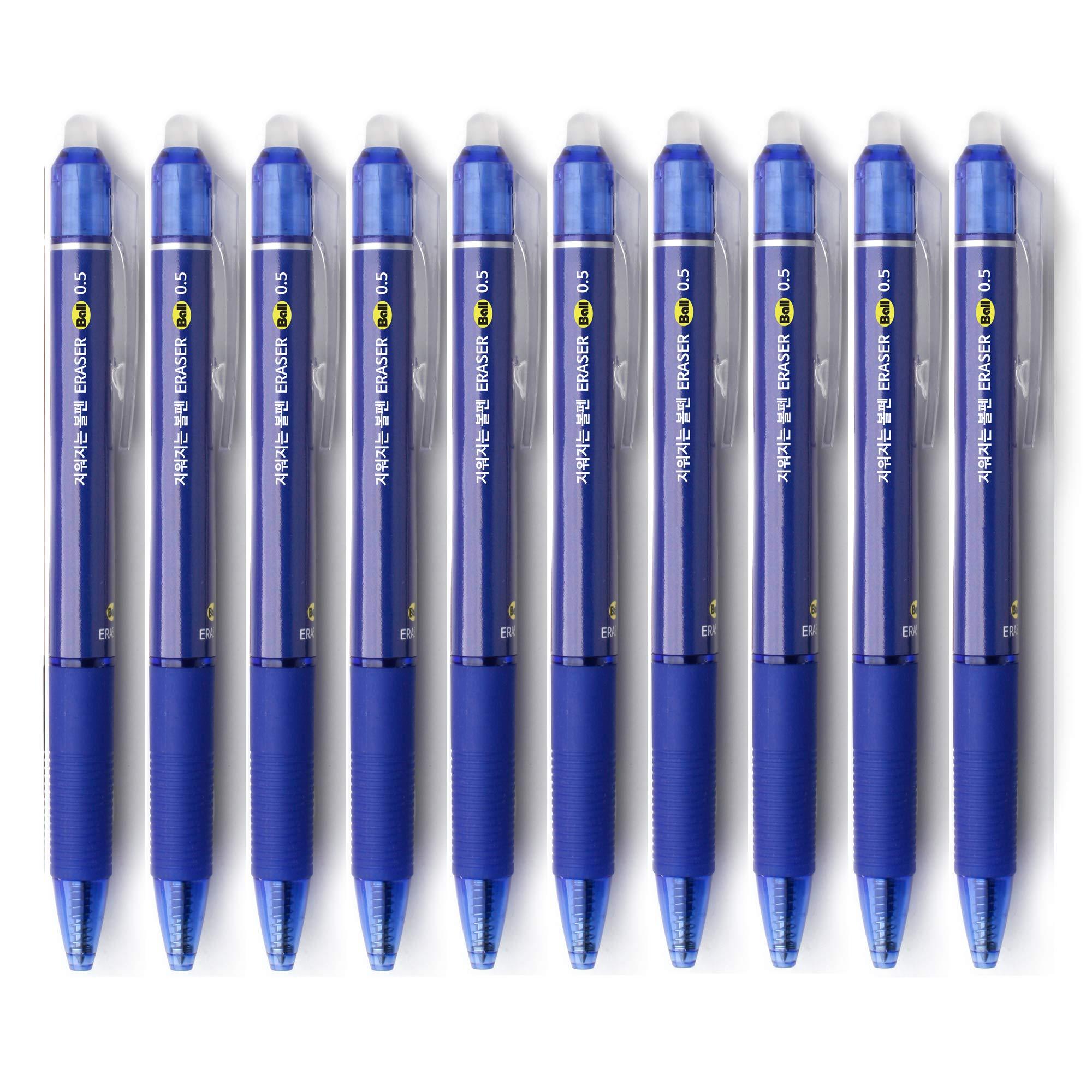 ERASER BALL Clicker 0.5mm, Erasable Gel Pens, Fine Point, Black Blue Red Ink, 10-Pack (BLUE)