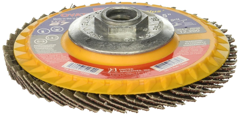 4-1//2 X 5//8-11 United Abrasives-SAIT 72328 Type 27 High Density Ovation Ceramic+ Flap Disc 10 Per Box 60 Grit