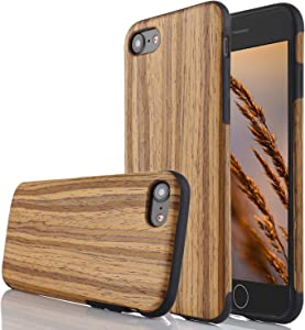 for iPhone 5S Case/iPhone SE Case,L-FADNUT Premuim Handmade Wooden Hybrid Back Flexible TPU Silicone Ultra Slim Back Case,Shock Absorbing Bumper Protective Case Cover-Teak Wood