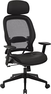 SPACE Seating Professional AirGrid Dark Back and Padded Black Eco Leather Seat, 2-to-1 Synchro Tilt Control, Adjustable Arms and Tilt Tension with Nylon Base Executives Chair with Adjustable Headrest