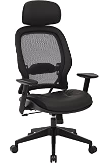 SPACE Seating Professional AirGrid Dark Back And Padded Black Eco Leather  Seat, 2 To