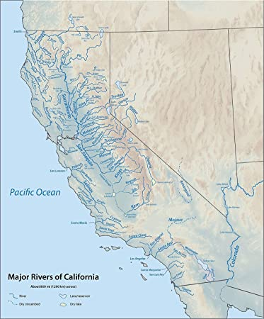 Amazon.com: Home Comforts Map - List of Rivers California ...