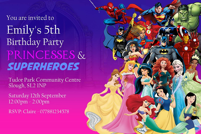 Princess & Superhero Party Invitations & Envelopes Personalised Invitebay