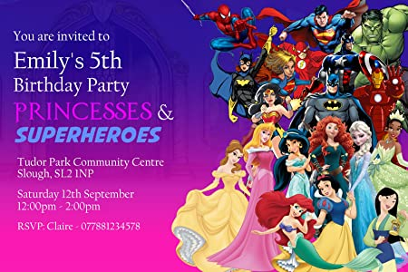 princess superhero party invitations envelopes personalised