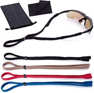 Sunglasses Glasses Straps - 4 Pack - Adjustable Universal Fit Retainer Holders - Carrying Case and Lens Cloth