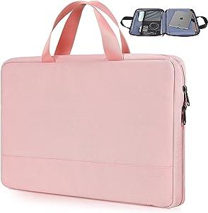 14-15.4 Inch Waterproof Laptop Case Bag for Acer Aspire 14/Swift 3/Chromebook 14,Lenovo Yoga C740 C940,HP Chromebook/Stream/Pavlilion 14,ASUS ZenBook 14/Dell Latitude 14 Women Laptop Briefcase-Pink