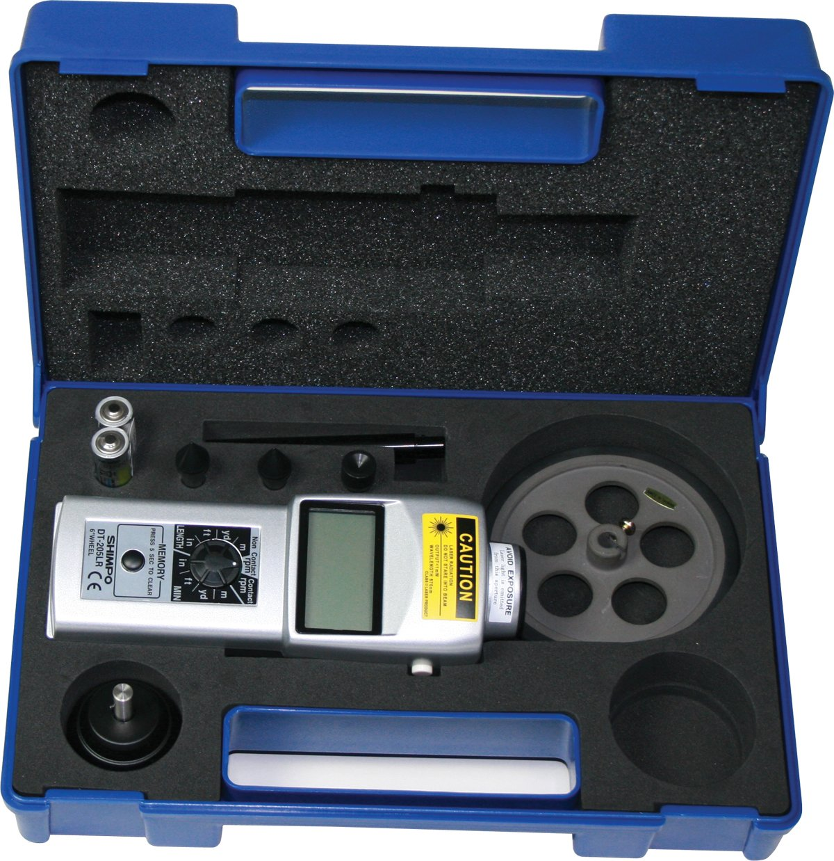 Shimpo DT-205LR Dual Contact//Non-Contact Handheld Tachometer with 6 Wheel LCD Display 6-99999rpm Range