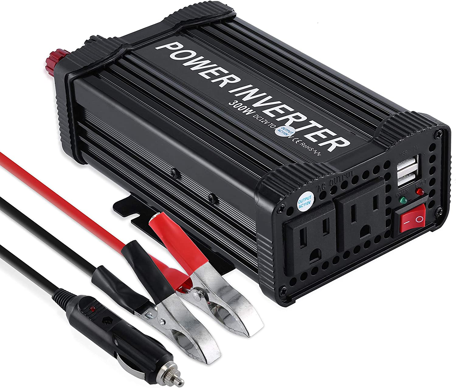 OHMOTOR 300W Power Inverter DC 12V to 110V AC Modified Sine Wave Car Inverter,with Dual 2.1A USB Ports and US Sockets Suit for iPad,Phone,Tablet,Laptop 300W