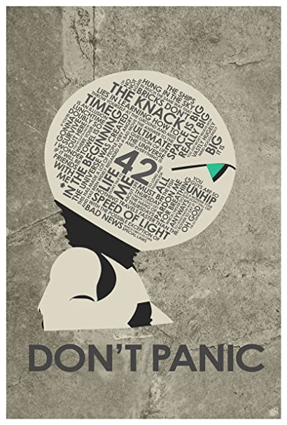 amazon com hitchhiker s guide to the galaxy don t panic word art