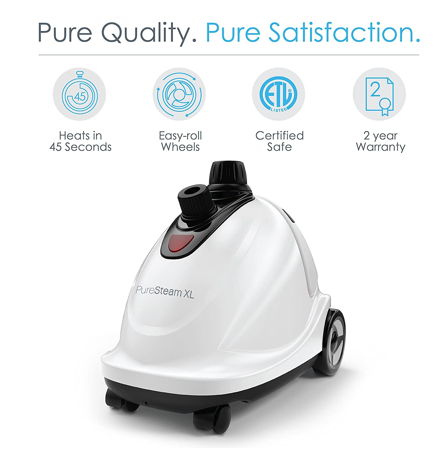 Pure Enrichment PureSteam XL Standing Fast-Heating, 1500-Watt Upright Steamer with Half-Gallon Water Tank for 1 Hour Continuous Steaming-Includes Garment Hanger and Fabric, 1