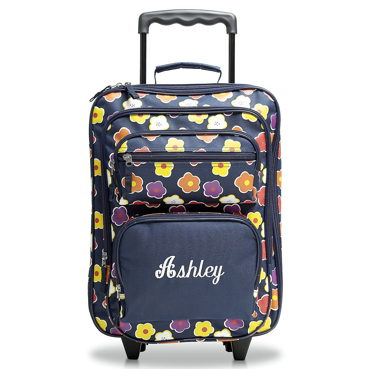 Personalized Rolling Luggage for Kids - Navy Floral Design, 5'' x 12'' x 20''H, By Lillian Vernon