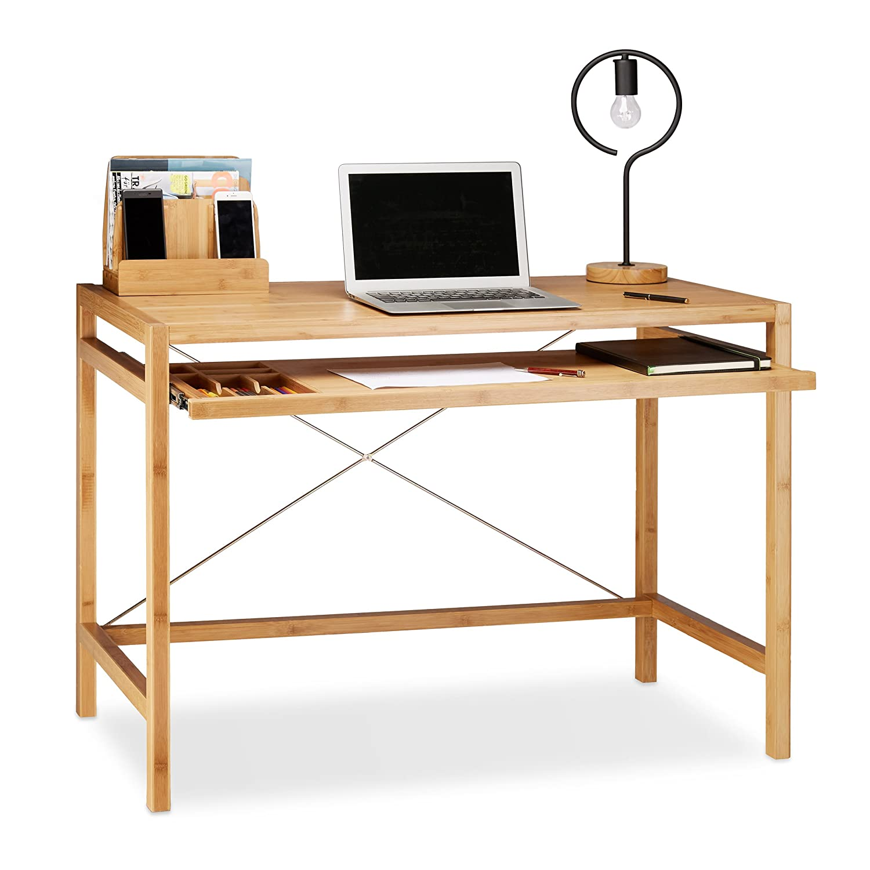 Relaxdays Bureau informatique table ordinateur en bambou moderne emplacement clavier HxlxP: 76 -5 x 106 -5 x 55 -5 cm