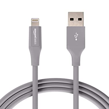 AmazonBasics Lightning to USB A Cable, Advanced Collection, MFi Certified iPhone Charger, Grey, 6 Foot, 2 Pack