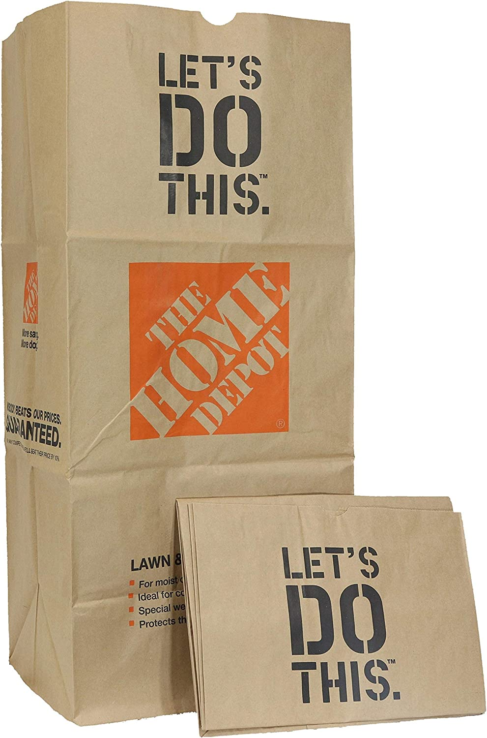 Heavy Duty Brown Paper 30 Gallon Lawn and Refuse Bags for Home and Garden (15 Lawn Bags)