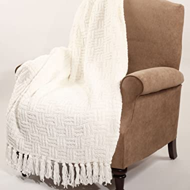 Home Soft Things Boon Cable Knitted Throw Couch Cover Blanket, 60  x 80 , White