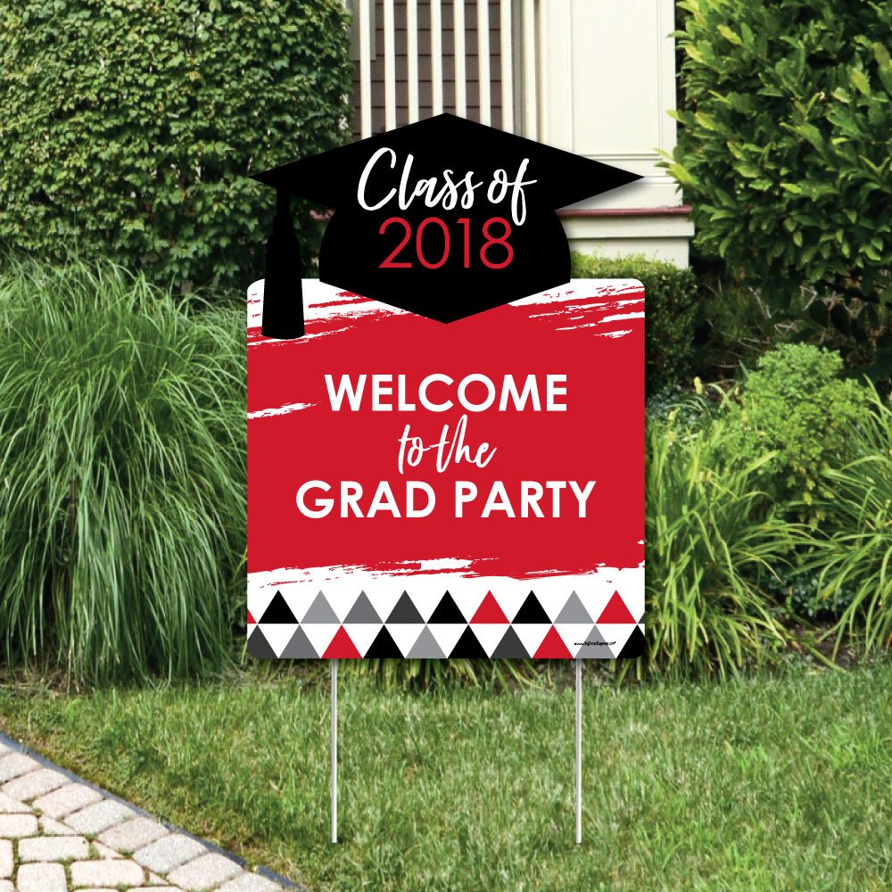 Red Grad - Best is Yet to Come - Party Decorations - Red 2018 Graduation Party Welcome Yard Sign
