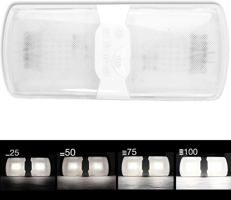 Leisure LED 2-Pack RV LED Ceiling Double Dome Light Fixture with Built in Dimmer Interior Lighting for Car//RV//Trailer//Camper//Boat 12V Natural White 4000-4500K 620 Lumen 5-Pack