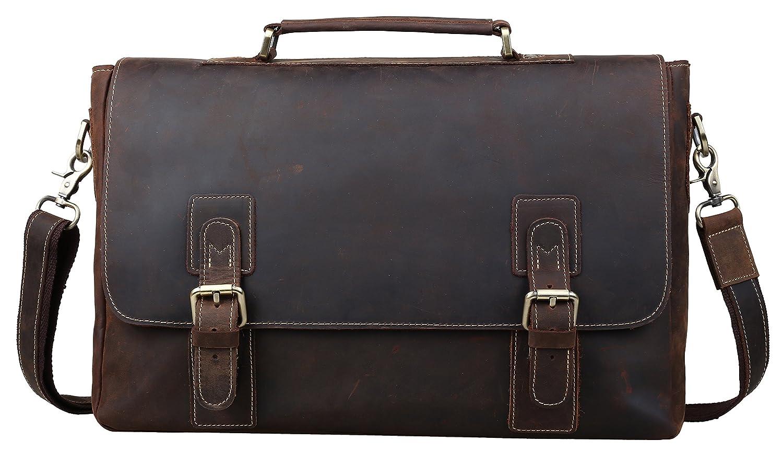 [(チョウギュウ) 潮牛] 厚手牛革 本革 メンズ ビジネスバッグ ブリーフケース ヌメ革 レザー 2WAY A4対応 15インチPC ショルダーバッグ 斜め掛け ダークブラウン B01J0QA644
