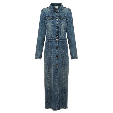 517129fa53d NONOSIZE Women s Long Sleeves Button Down Dress Lapel Casual Jacket Long  Denim Dress with Pockets