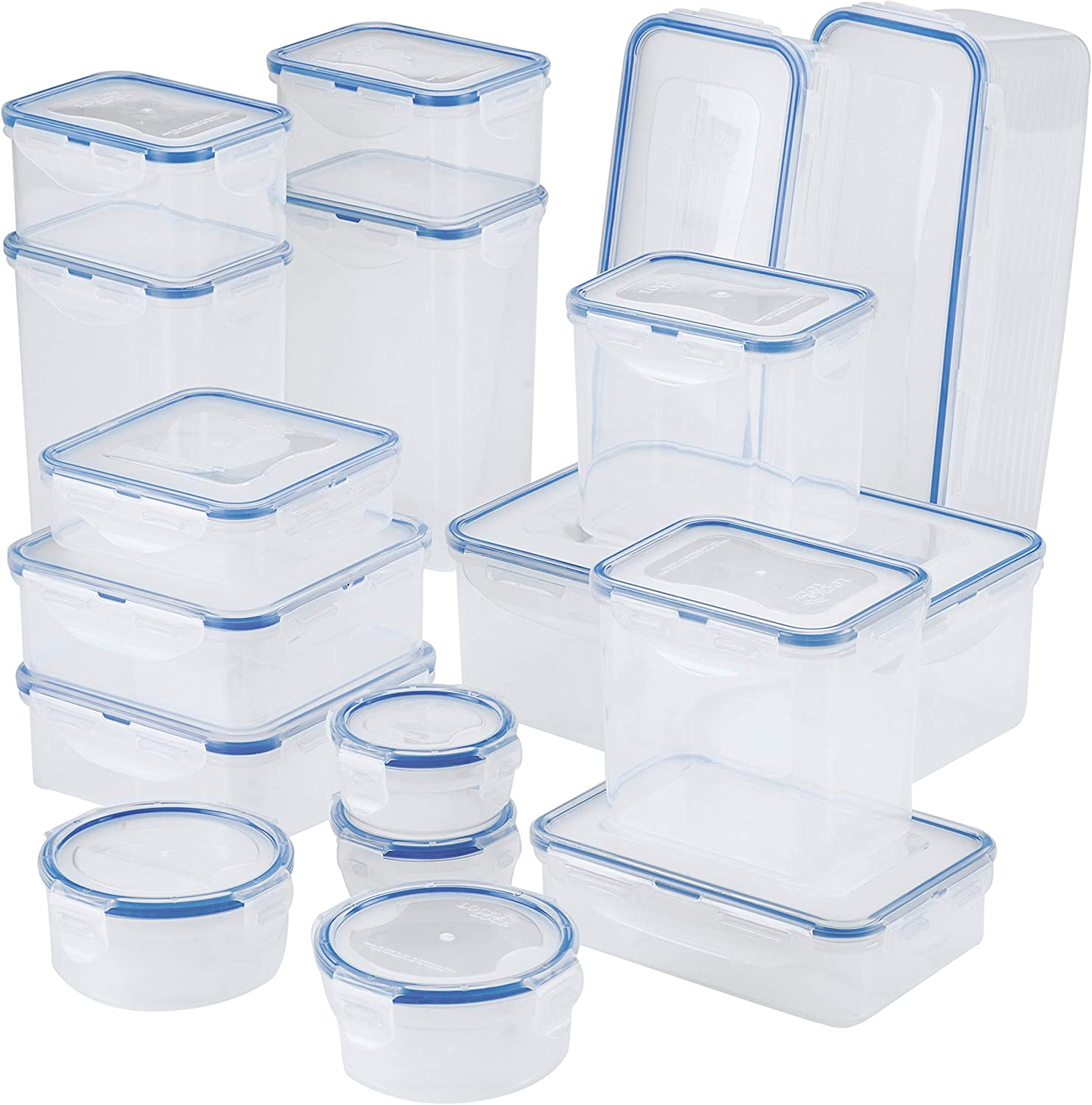 LOCK & LOCK Easy Essential Storage Set/Food Containers Airtight Bins/BPA-Free/Dishwasher Safe, 38 Piece, Clear