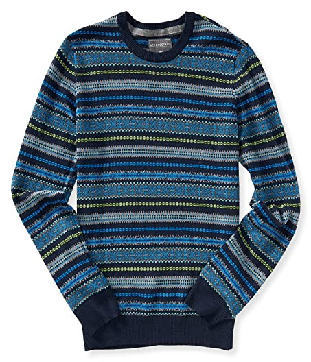 Aeropostale - Mens Fair Isle Crew Neck Sweater (Large, Deep Navy ...