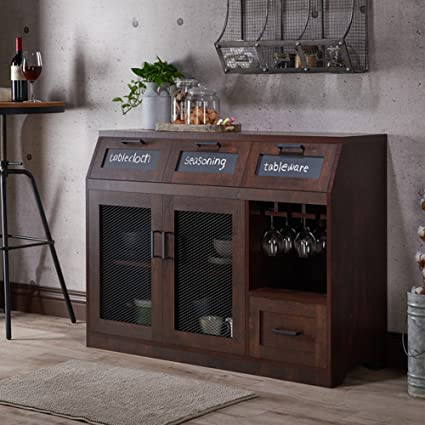 Attirant Industrial Server   Dining Room Sideboard Cabinet With Chalkboard Drawers  And Mesh Doors   Vintage Rustic