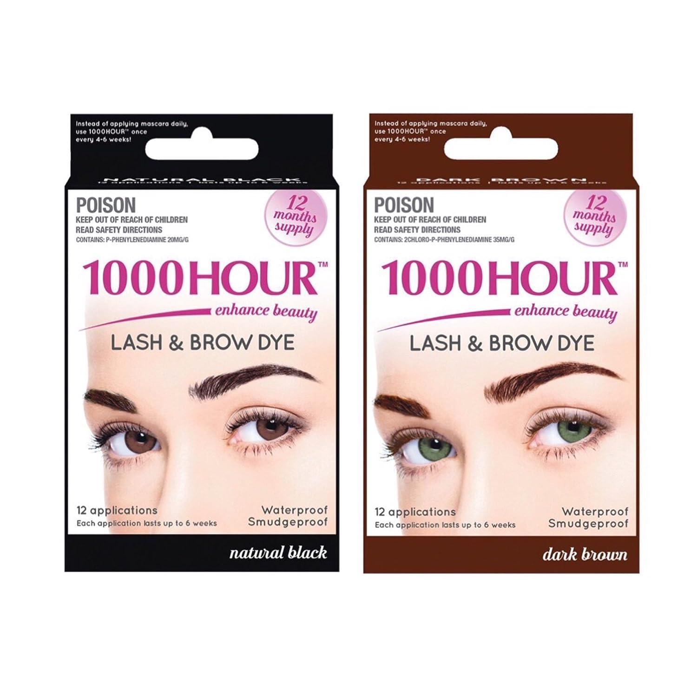 Combo Pack. 1000Hour Eyelash & Brow Dye/Tint Kit permanente Mascara (Black & Dark Brown) 1000 hOURS