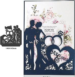 Love Heart Die Cuts,Couple Wedding Mr&Mrs Diamond Ring Cutting Dies Cuts for Invitation DIY Album Card Making Embossing Scrapbooking Stencils Decoration