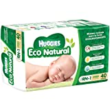 Huggies Eco Natural Pañales Ecológicos para Bebé, Etapa Recién Nacido - 1, 40 Piezas