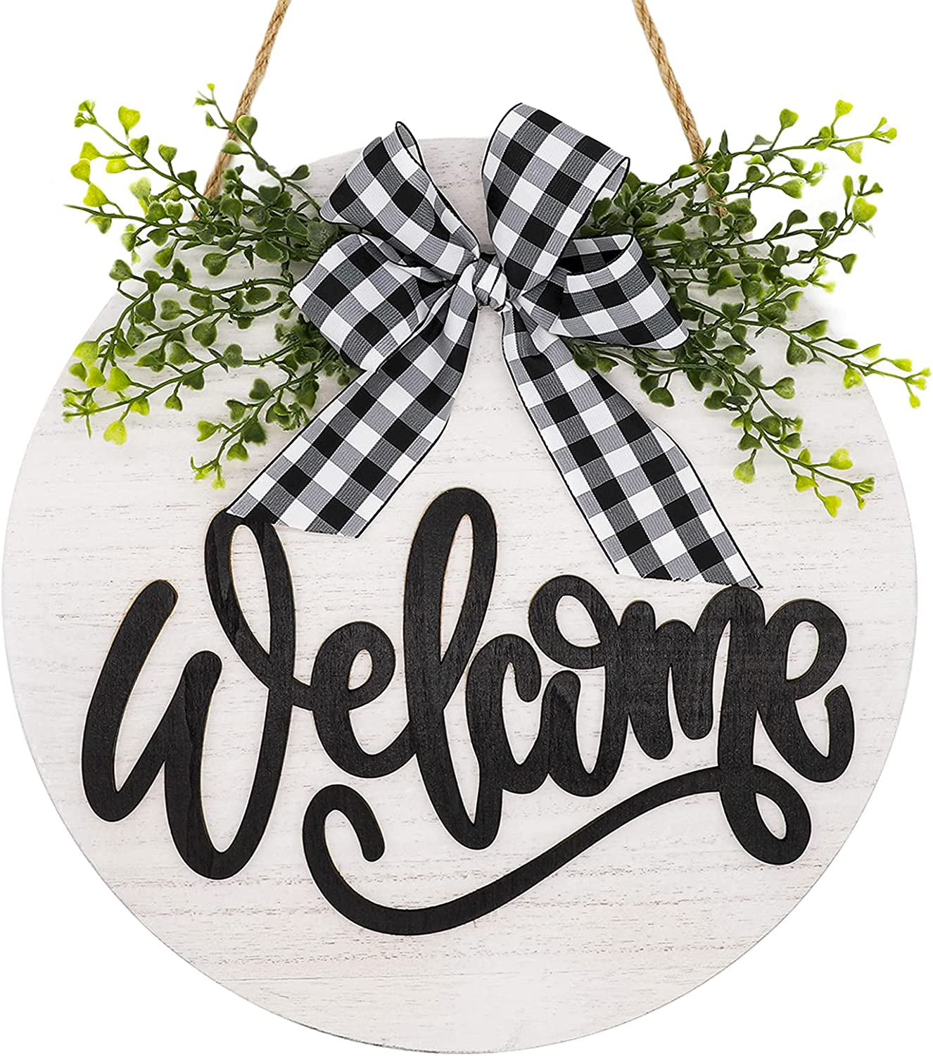 """Welcome Wreath Sign for Farmhouse Front Porch Decor, 12"""" Rustic Round Wooden Door Hanger Front Door Welcome Sign for Home Restaurant Decoration"""