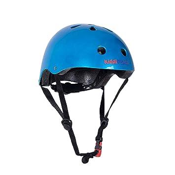 KIDDIMOTO Casco Bicicleta/Cascos para Infantil/Bici Casco para Patinete, Ciclismo Montaña, BMX, Carretera Skate, Patines, Monopatines - Azúl Metálico