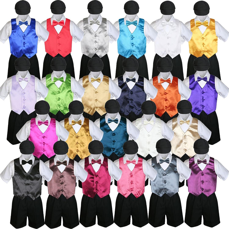 M: 6-12 months 5pc Baby Toddlers Boy Green Teal Vest Bow Tie Set Black Suits Cap S-4T