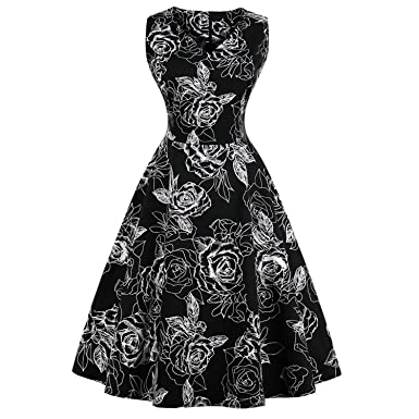 Women Summer Pin up Dresses 50s Rockbility Robe Plus Size A-Line Party Dress