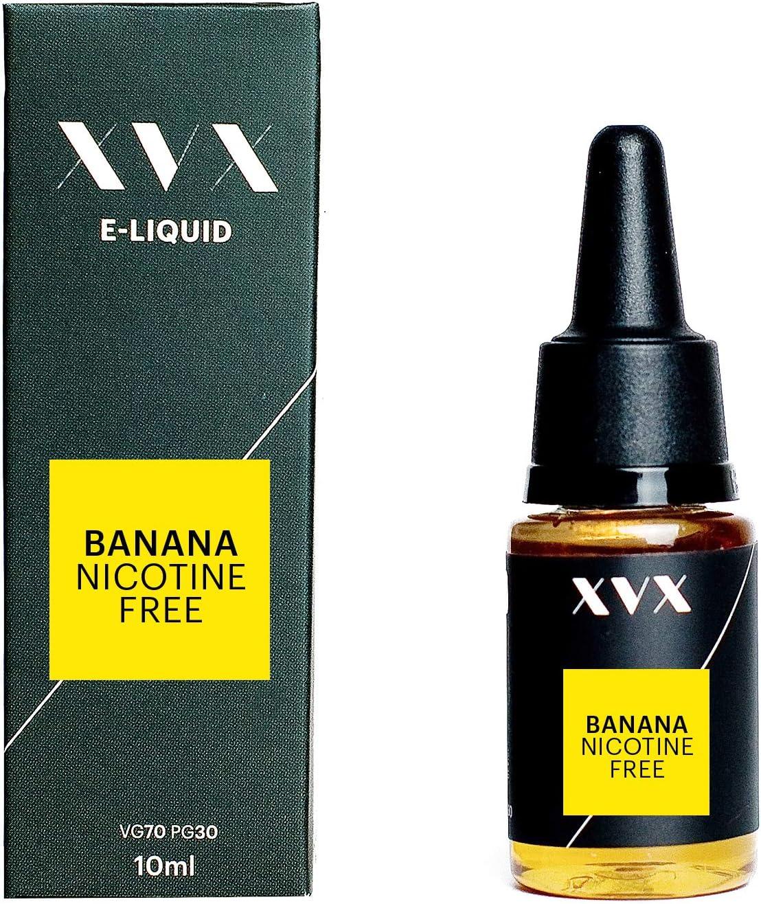 XVX E Liquid Banana Flavour Electronic Liquid For Vape Pen Cigarettes E Cigarette Shisha Vapouriser Liquid 10ml Nicotine Free Bottle Needle Tip Ecig E Cig