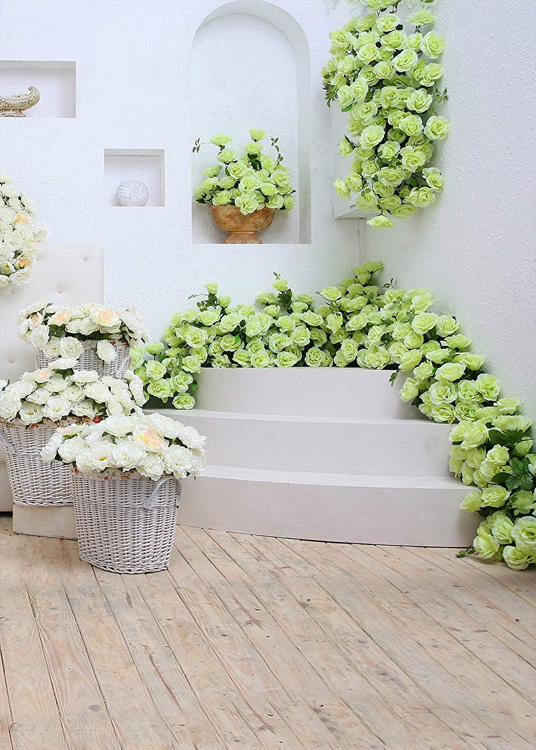 6x4ft Vinyl Indoor Flower Background White Flowers Pale Blue Flowers for Interior Decoration Wedding Photo Studio Photography Background LYZY0657 for Party Decoration Birthday YouTube Videos School Ph