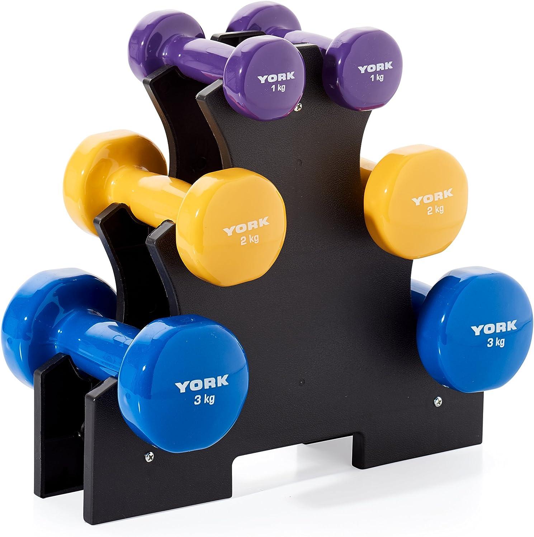 York Fitness Unisex Vinilo Juego de Mancuernas con Soporte de Cruce, Color Azul, Amarillo, Morado, 12 kg: Amazon.es: Deportes y aire libre
