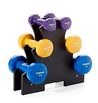 York Fitness Unisex Vinilo Juego de Mancuernas con Soporte de ...