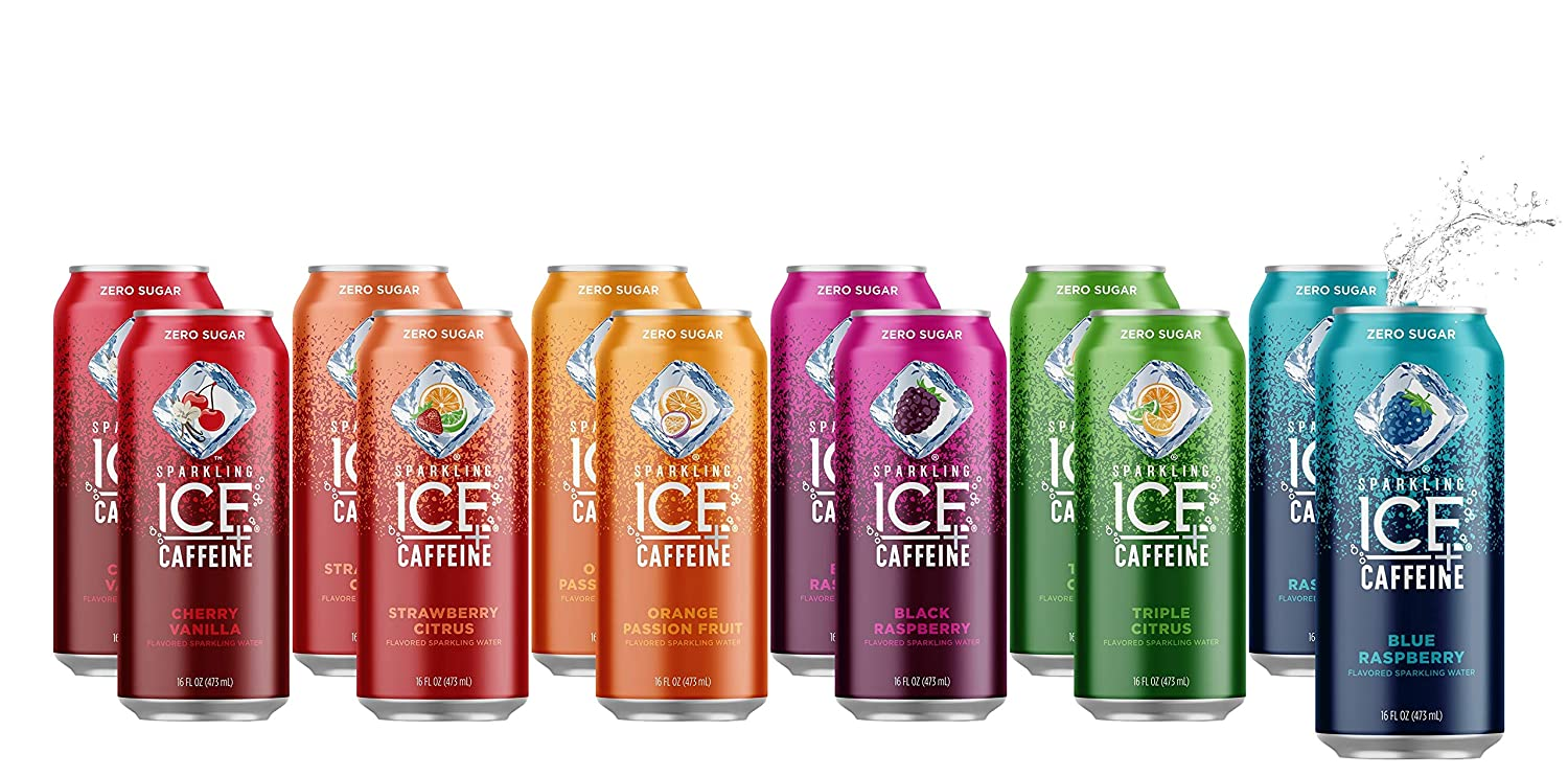 Sparkling ICE +Caffeine Sparkling Water | All Flavor Variety Pack (Sampler) - 16 fl oz Cans, Naturally Flavored Sparkling Water with Antioxidants & Vitamins | Pack Of 12